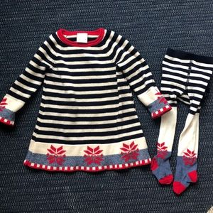 Hanna Andersson Christmas dress and tights set